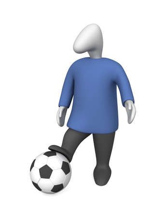 Three-dimensional image - man with a soccer ball.