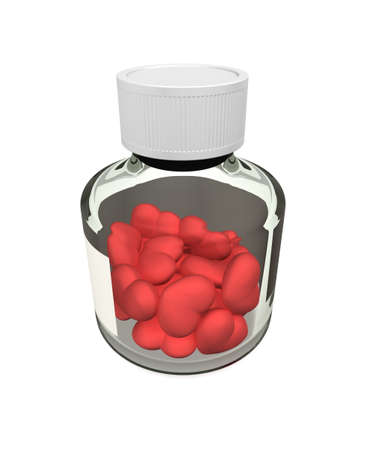 Three-dimensional model. A glass bottle with tablets in the form of heart.