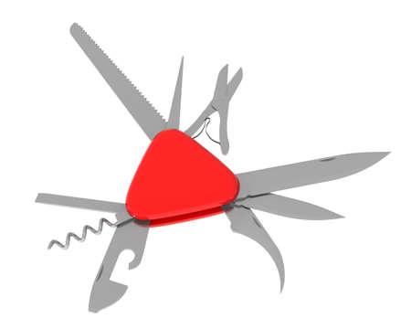 3 차원 이미지 - 접이식 칼에는 다양한 도구가 들어 있습니다.