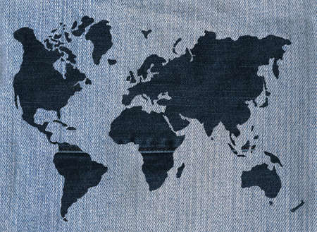 World map made of denim Фото со стока