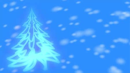 Christmas background - glowing Christmas tree and snowflakes. Banque d'images