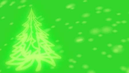 크리스마스 배경 - 빛나는 크리스마스 트리와 눈송이.