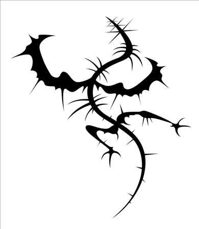 가시로 덮여 날개 달린 괴물의 검은 실루엣.