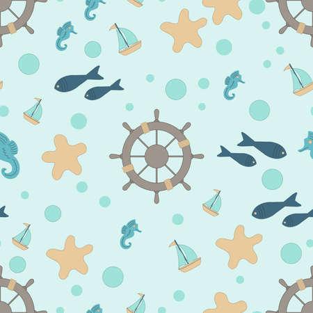 mooring: abstract cute marine seamless background vector illustration Illustration