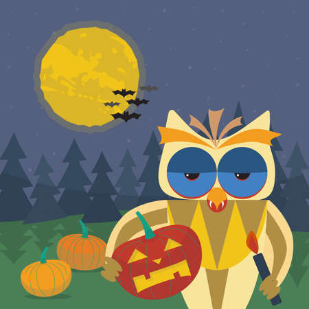 Halloween illustration with smiling owl with a pumpkin in his paws. Owls beak with vampire fangs. Dark forest, pumpkins, bats and the moon on a background of the starry sky
