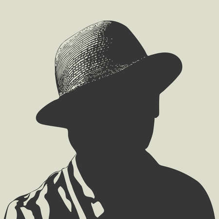 Man in hat, vector isolated silhouette.