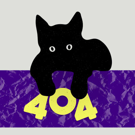 error message: Error 404 page not found Cute kitten playing with message 404. Vector template for website. Illustration