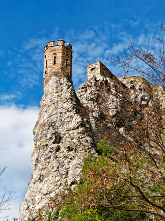 Ruins of the castle Devin located near Bratislava, Slovakia. View from the bottom of the surviving towers. Vertical image