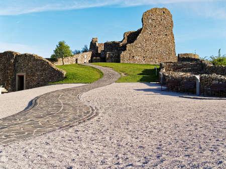 Ruins of the castle Devin located near Bratislava, Slovakia. Stone road leading upwards