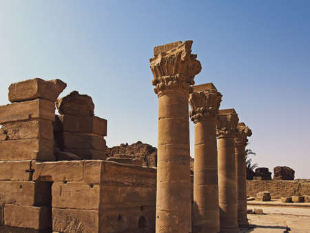 Dendera Temple (Temple of Hathor in Egypt). Preserved columns Stock Photo
