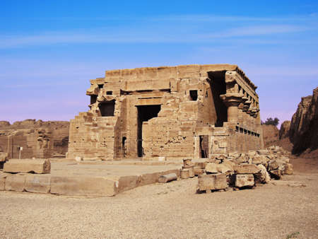 Temple of Hathor, located in the town of Dendera. Temple courtyard buildings Editorial