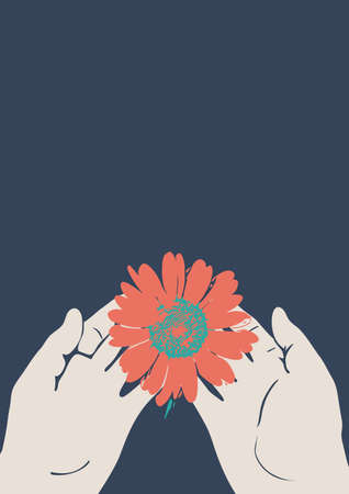 Beautiful red flower in hands on a blue background. Vector illustration