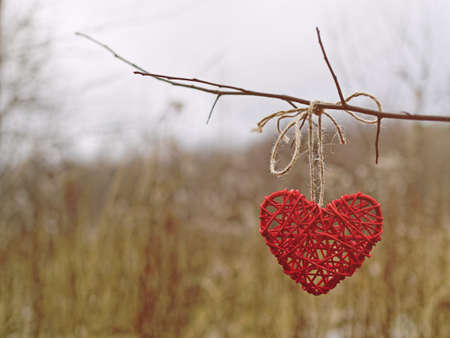 A wicker heart is hung on a tree branch. Behind is an autumn or winter forest with dried yellow grass and snow cover. Stock Photo