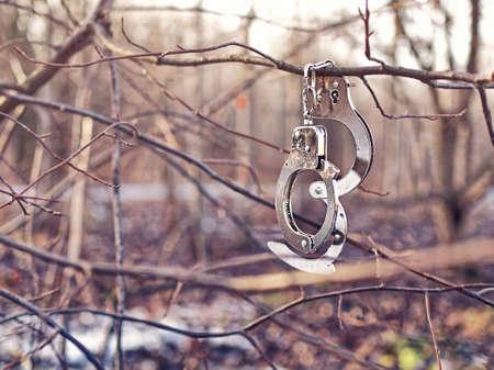 Stahlhandschellen hängen an einem Ast ohne Blätter. Hintergrund des Herbstes oder des Winterwaldes. Standard-Bild - 90420984