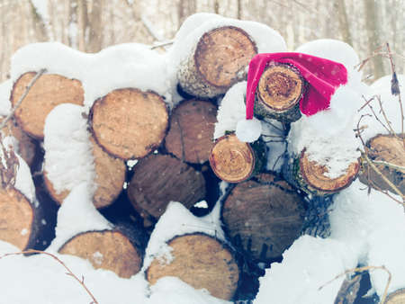 The forgotten Santa Claus hat hangs on logs. Winter background with falling snow