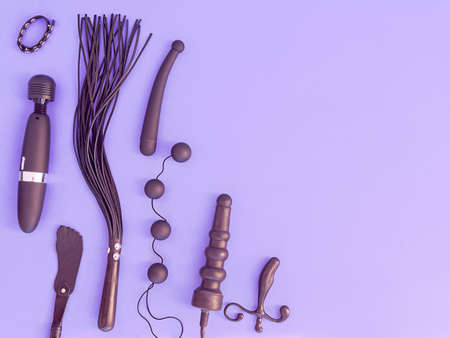 Various sex toys (leather whip, dildo, vibrator, love balls and other) are on a purple background. The image is suitable for advertising a sex shop or for displaying diversity in sexual pleasures