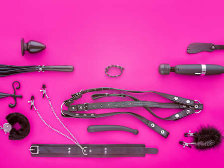 Various toys for adults (leather harness, collar with clips, anal plug, fur handcuffs, vibrator and other) are on a purple background. The image is suitable for the banner of the sex store goods