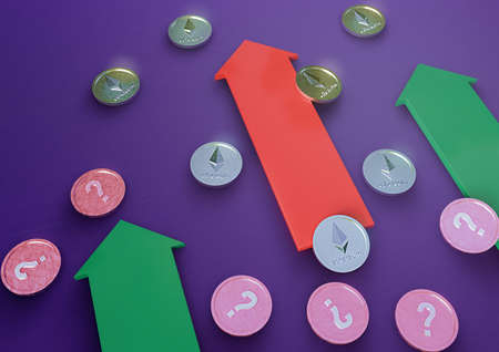 Coins of crypto currency The ethereum and coins of unknown currency are together with three-dimensional figures of arrows on a colored background. The image shows growth. 3d illustration