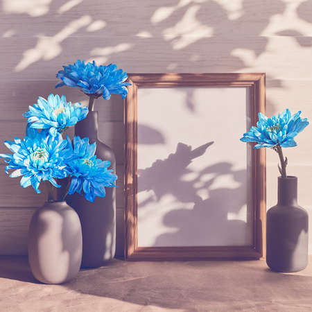Blue chrysanthemums are found in a variety of mini-vases. There is an empty wooden frame. White wooden background. Stock Photo