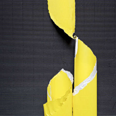 A piece of torn yellow corrugated cardboard is on black textured paper. Abstract image for banner. Flat lay. Copy space.