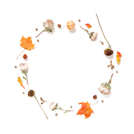 Autumn composition. A wreath of dried flowers, leaves and plants is on a white background. Autumn, fall, thanksgiving day concept. Flat lay. Top view. Copy space.