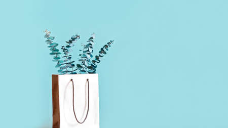 Eucalyptus branches are in a white paper bag with handles. Decor concept for living quarters, shops or offices. Copy space. Stock fotó