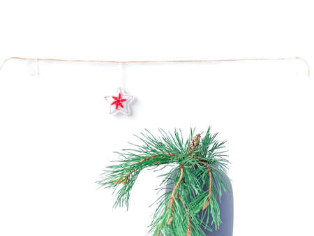 Christmas composition. A natural pine branch with a cone is in a vase. In the background is a rope with a star ornament hanging from it. New Year, winter concept. Greeting card.