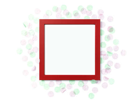 Template in a minimalistic style. Blank red photo frame decorated with round paper confetti. Top view. Flat lay. Copy space. Stock fotó