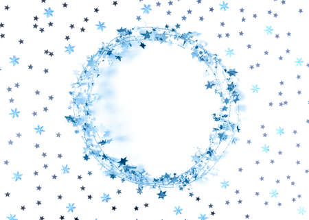 Christmas layout. The round blue frame made of glittering garlands is decorated with confetti in the form of stars and snowflakes. New Year, winter concept. Greeting card. Flat lay, copy space.