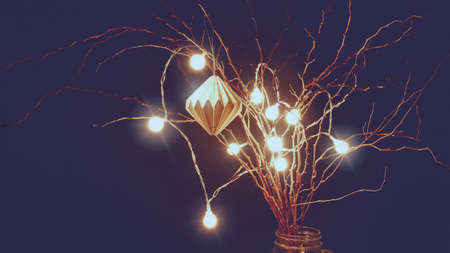 A luminous garland and a paper honeycomb ball are suspended from dry branches. Abstract Christmas background in vintage style.