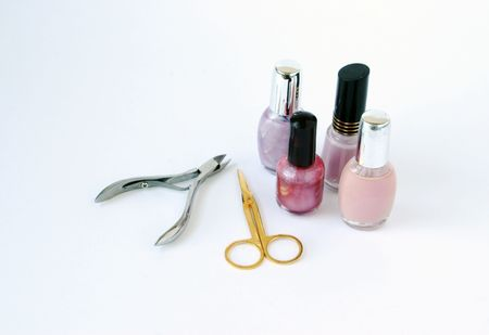 Nail Clippers: nail polish with scissors and clippers Stock Photo