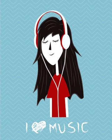 fille écouter de la musique illustration