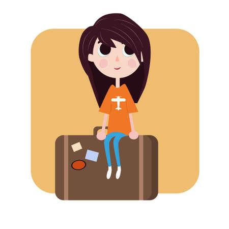 女の子はバッグの図に座っています。  イラスト・ベクター素材