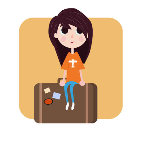 valise: girl is sitting on the bag illustration