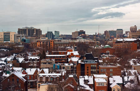 Scenic view of winter town on dusk, Toronto, Canada
