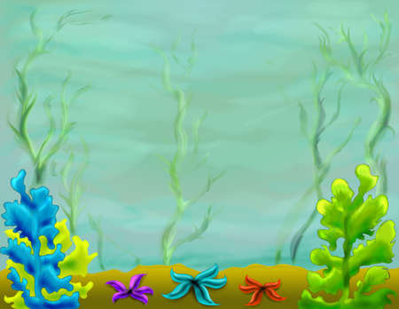 Drawing painting of a beautiful underwater sea ocean world with green, yellow and blue seaweeds and red, blue, purple starfishes, children illustration, background with copy space illustration