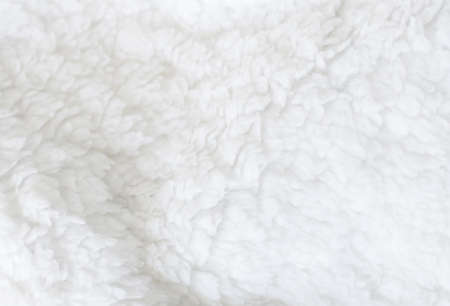 white fabric texture: White sheep fur background texture wallpaper, natural ecological organic clean cover, copy space for text Stock Photo
