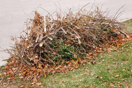 Stapel gesneden oude droge boomtakken met herfst val bladeren op hen, afval afval vuil op grond, achtergrond textuur Stockfoto