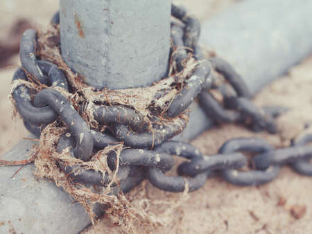 Macro shot of old rusty metal cast iron chain with old dried seaweed wound around aluminum grey post on sand shore of lake sea ocean, toned with instagram filters, retro vintage film effect, cool tones, selective focus