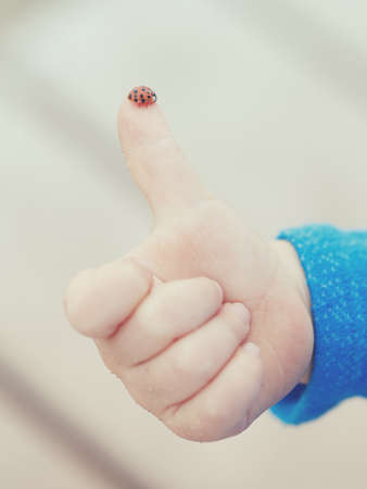 Red ladybird standing on the tip of the finger of a human child hand making 'thumbs up' sign against simple plain light background, toned with instagram filters, retro old vintage film effect, hipster style