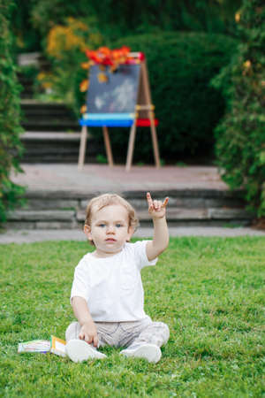 toddler boy: Portrait of funny white Caucasian toddler child kid boy sitting on grass ground outside in summer autumn park by drawing easel with books showing rock metal salute sign Stock Photo