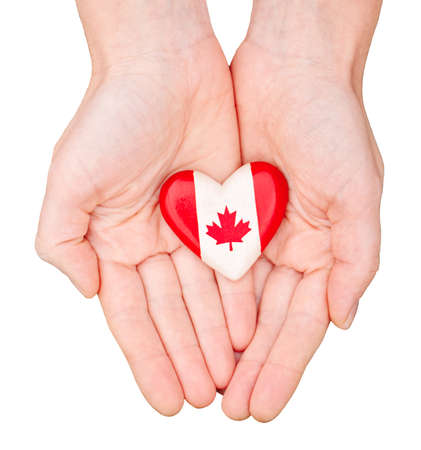 Macro closeup shot of hands palms holding round heart badge with red white canadian flag maple leaf, isolated on white background. Canada Day national celebration Editorial