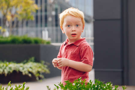 Closeup portrait of cute adorable little red-haired Caucasian boy child in red t-shirt standing in park outside looking in camera. Happy lifestyle childhood concept