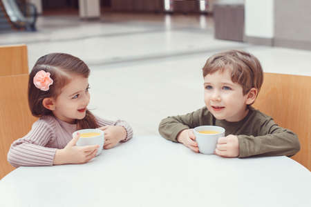 Group portrait of two white Caucasian cute adorable funny children toddlers sitting together drinking juice. Love friendship childhood concept. Best friends forever