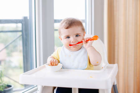 Portrait of cute adorable Caucasian child boy with dirty messy face sitting in high chair eating apple puree with spoon. Everyday home childhood lifestyle. Infant trying supplementary baby food 스톡 콘텐츠 - 106118591