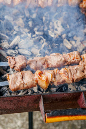 Closeup macro of raw roasted marinated meat barbecue shish kebab shashlik on steel metal skewers lying grill fire brazier with charcoal.
