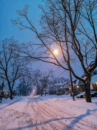 Scenic view landscape of outdoor winter city town Toronto at late evening night. Buildings, houses, trees, roads and streets covered with snow. Heavy snowstorm natural disaster cataclysm. Reklamní fotografie