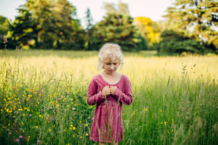 Little sad unhappy blonde Caucasian girl in tall high grass on meadow at sunset. Lonely feared scared upset child kid looks at something below on ground. Lifestyle authentic childhood.