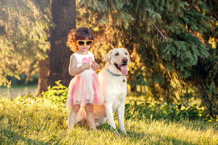 Cute adorable little curly Caucasian girl wearing yellow sunglasses with her dog in park outside at sunset on summer day. Child playing with animal domestic pet. Happy childhood concept.