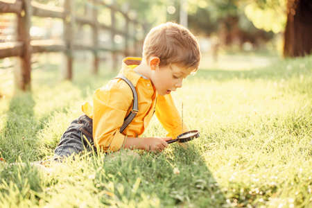 Cute adorable Caucasian boy looking at plants grass in park through magnifying glass. Kid with loupe studying learning nature outside. Child natural science education concept.
